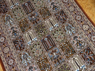 イラン製ペルシャ絨毯手織りセンターラグクムウールA167000
