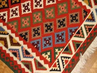 高級シラズキリムの廊下敷きとてもカラフルラグ121000