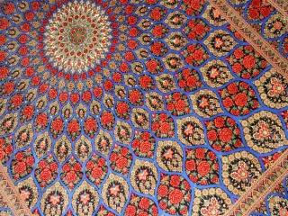 最高級手織りバラデザインシルクペルシャ絨毯クム産60051