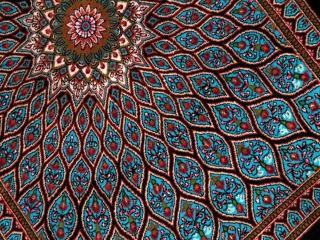 ペルシャ絨毯玄関マットシルクゴンバディーのブルー60055