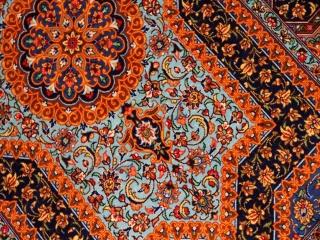 クムシルク手織りペルシャ絨毯素敵なブルー75129