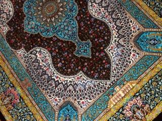 シルクのペルシャラグ高品質手織りイラン製絨毯60008
