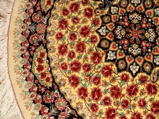 おしゃれ丸い玄関マット、クムシルクのバラデザインおしゃれペルシャ絨毯60043