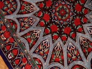 珍しいデザインの玄関マットシルクペルシャ絨毯56042