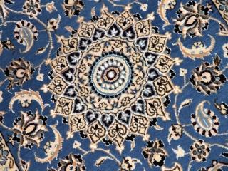 素敵なブルー色手織り玄関マットペルシャ絨毯58052