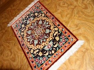 ミニシルクペルシャカーペット手織りクム20769