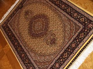 高級玄関マット、手織りペルシャ絨毯タブリーズ産44154