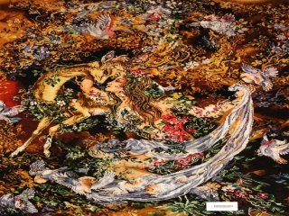 ペルシャ絨毯のタブリーズ珍しいピクチャー模様55355
