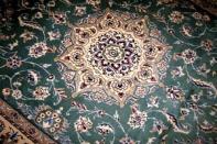 グリーン色手織りペルシャ絨毯、緑カーペットラグ3258