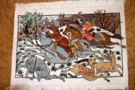 小さいハンティングデザインペルシャ絨毯49008