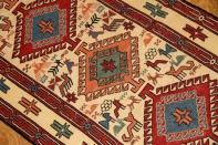 キッチンマット手織りシルジャンキリム35358