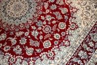 赤いナインろリビングラグメダリオンペルシャ絨毯38320