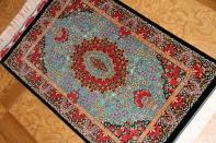 素晴らしい色彩エメラルドグリーンシルク絨毯56044