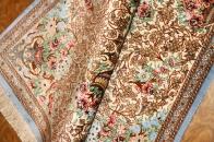 ペルシャ玄関絨毯クムシルクベージュ50029
