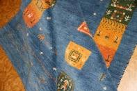 手織りペルシャギャッベのスカイーブルーラグ1700001