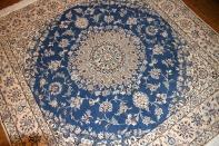高級リビングラグスカイブルーペルシャ絨毯57032