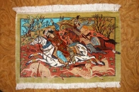 ペルシャ絨毯hunting designシルククム49006