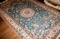 グリーンペルシャ絨毯、緑カーペットラグ3258