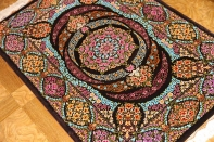 迫力のあるシルクの玄関マット手織りペルシャ57010
