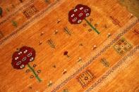 手織りペルシャギャッベソファー前サイズのオレンジ色18320