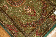 高級手作りペルシャ絨毯クムシルクグリーン57008