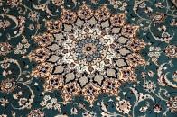 和風なセンターラグ手織りナイン絨毯有名工房77792