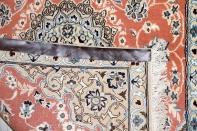 可愛い玄関絨毯のサーモンピンクペルシャ織り55020