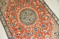 可愛い玄関絨毯のピンクサーモンペルシャ織り55020