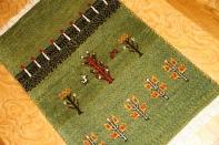 手織りイラン輸入遊牧民的なギャッベ自然の模様グリーン色181094