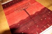 高品質イラン製赤いメリノウールギャッベ手織りペルシャギャッベ19219