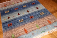 手織りペルシャギャッベのスカイーブルーラグ192216
