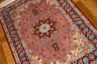 ペルシャ絨毯最高級イスファハン玄関マットピンク2118