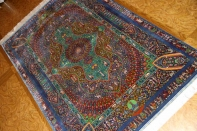 トップクラス手織りシルクペルシャ絨毯有名工房センターラグ60019