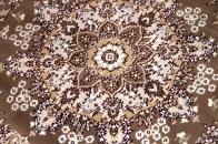 丸いイラン製の機械織りカーペット茶色99002