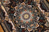 イラン製の高級機械織りのカーペット玄関マット990054