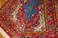イラン製ペルシャ絨毯マシャード産ラグサイズブルー色26689