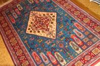 イラン輸入ペルシャ絨毯マシャード産ラグサイズブルー色26694