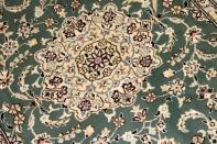 グリーン色の玄関マットナイン産地ペルシャ絨毯55165