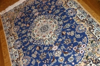 あこがれの色彩ナインブルー玄関マット手織りペルシャ絨毯21186