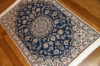 激安価格手織りペルシャ絨毯ナインブルー玄関マット21182