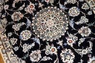 イラン輸入手織りペルシャ絨毯玄関マット紺色21183