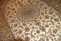 明るいペルシャ絨毯ナイン6平米ベージュとイエロー色197336