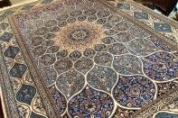 高級ペルシャ絨毯ナインゴンバディデザインペルシャンブルー139997