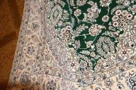 リビング手織りペルシャ絨毯メダリオングリーンナイン産59026