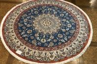丸いセンターラグペルシャ絨毯、円形のブルー色ナイン産1810156