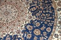 丸いペルシャ絨毯、円形手織りペルシャ絨毯ナイン産36561
