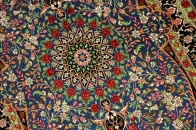 シルクのペルシャ絨毯玄関マットブルー色56041