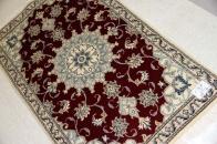 玄関マットの赤い色手織りペルシャ絨毯ナイン55239