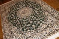 ペルシャ絨毯ナイン産ソファー前サイズグリーン色59021