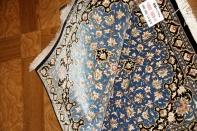 人気ブルーシルク玄関マットペルシャカーペット56026